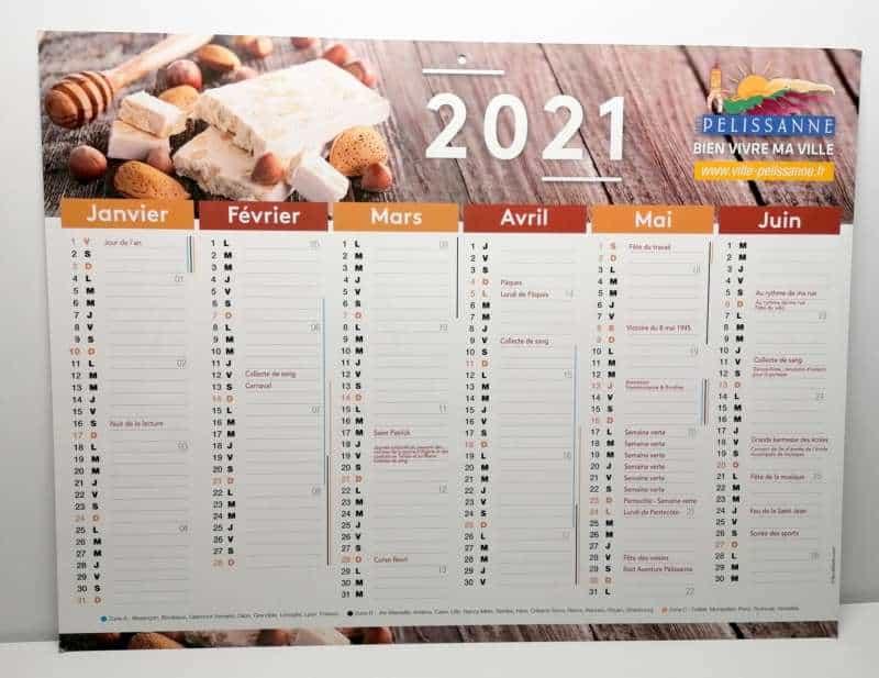 Impression + calendrier souple + Aix en Provence Marseille et Bouches du Rhône